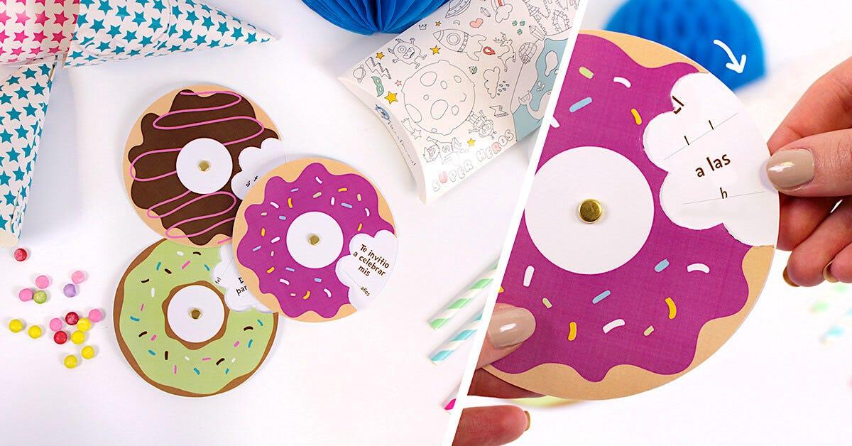Tutorial invitación de cartón en forma de donut.