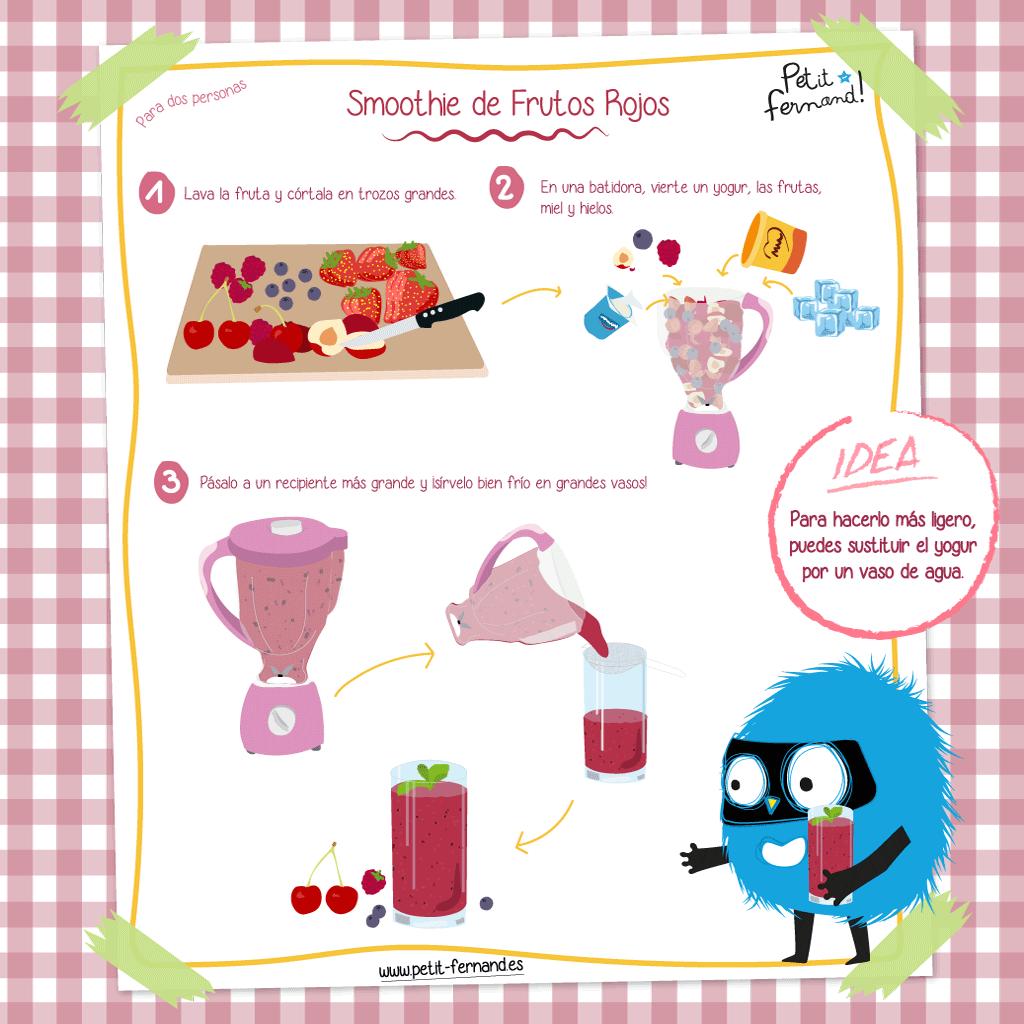 cómo preparar un batido de frutos rojos
