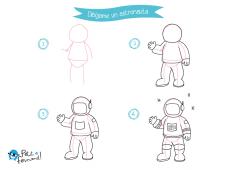 dibuja y colorea un astronauta