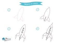 aprende como dibujar un cohete y colorealo