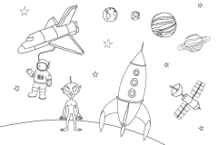 dibujo para colorear del espacio