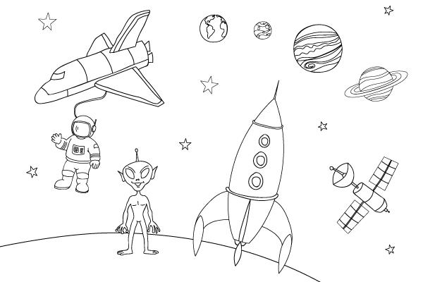 Dibujos para niños sobre el espacio para pintar y colorear | Petit ...