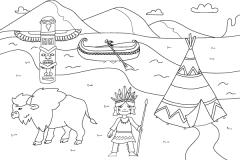 dibujo de colorear para niños teme: indios