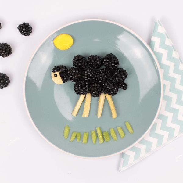 funfood para niños: frutas en forma de ovejas