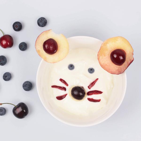 receta de merienda para niños saludable: queso en forma de ratón