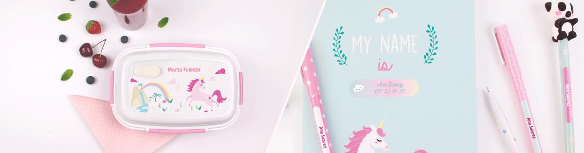 fiambreras y cantimploras personalizables de disñeos de unicornios