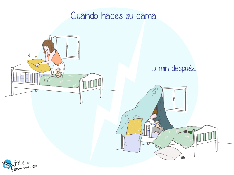 humor de padres cuando haces su cama