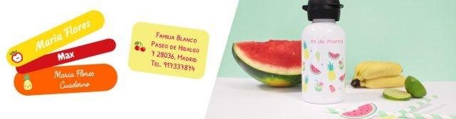 Tarjetas de invitación con forma de frutas.