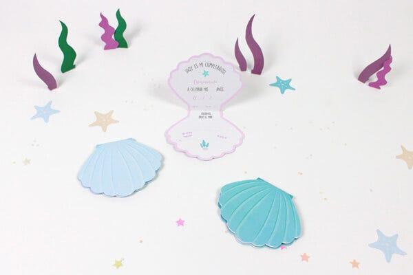 Tarjetas Invitación Cumpleaños Sirenas I Taller Petit Fernand Es