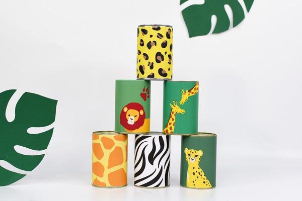 ¡os hemos preparado este divertido juego de tirar las latas con temáticas inspiradas en el Rey León para ocupar el tiempo libre de los peques durante el verano!