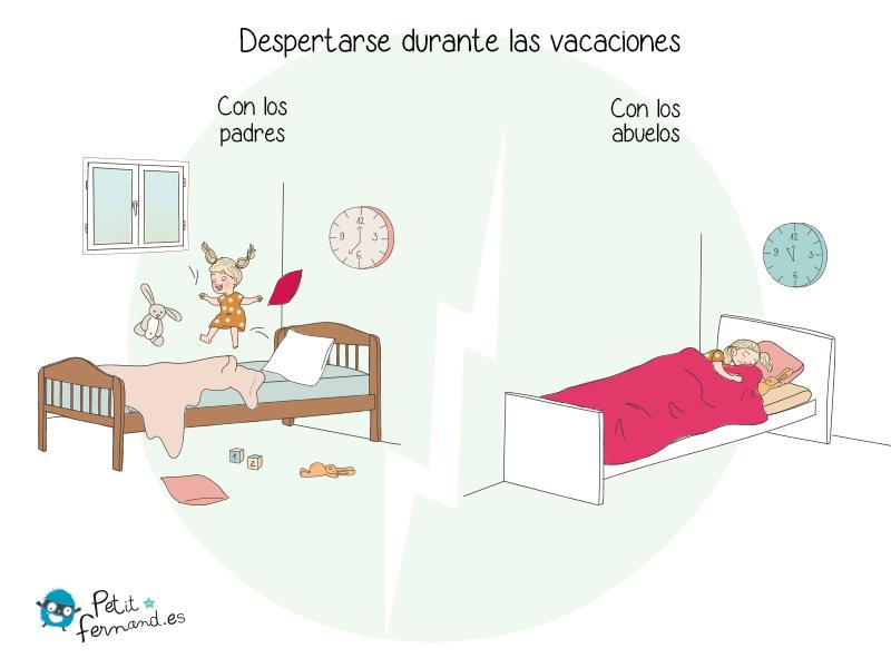 Los niños no duermen de la misma manera cuando están en casa y cuando están de vacaciones con los abuelos