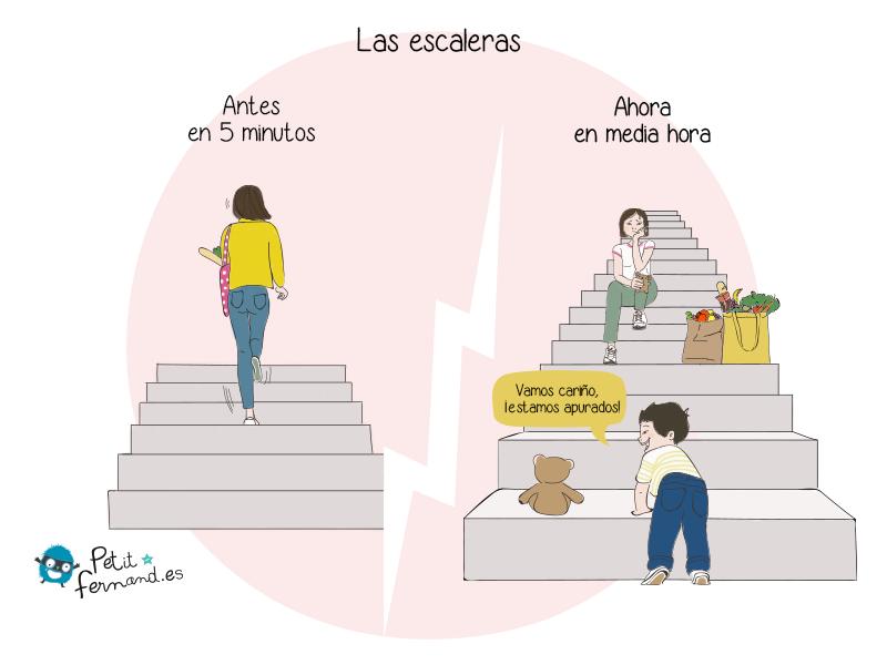 No es tan fácil subir las escaleras cuando tienes niños.