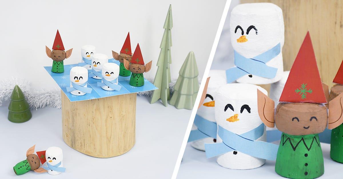 ¡Realiza fácilmente un tres en raya especial de invierno, con muñecos de nieve y duendes para pasar todas las tardes de invierno entretenidos!