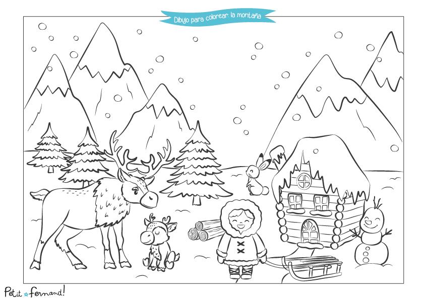¡Aquí están los animalitos entre la nieve de la montaña para colorear!
