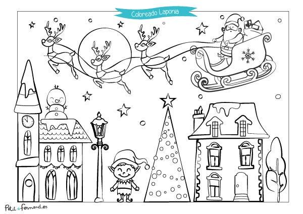Descarga gratuitamente nuestros dibujos de Navidad para colorear la Laponia para que vuestros pequeños duendes los puedan regalar a Papá Noel!