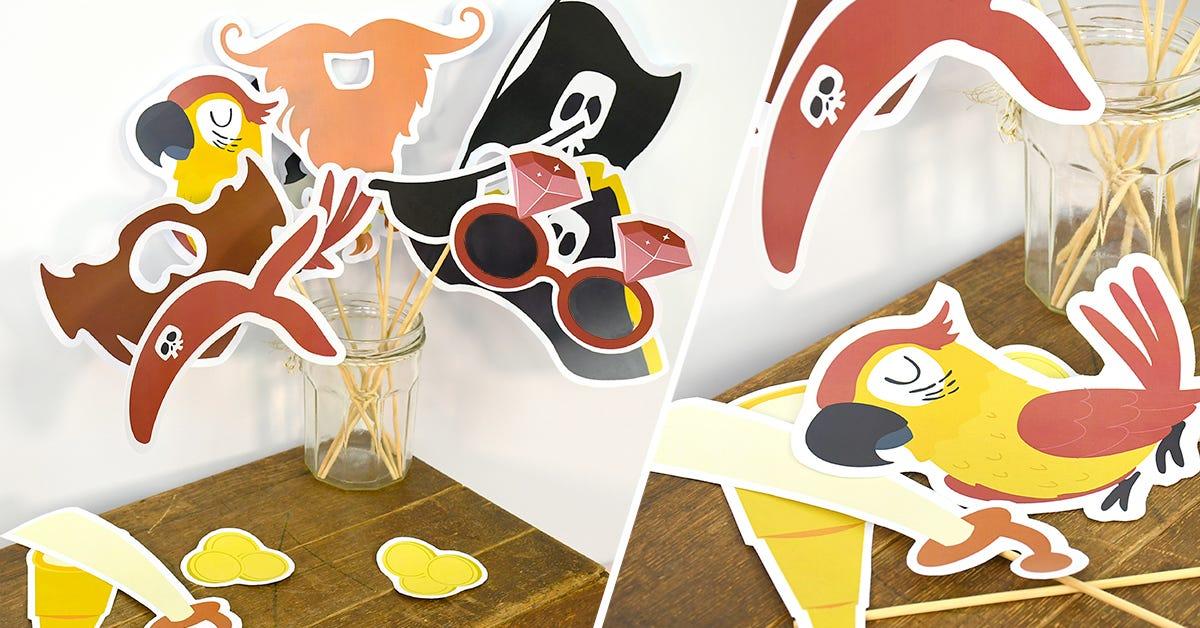 ¡Accesorios de fotomatón de piratas para una fiesta de cumpleaños memorable!