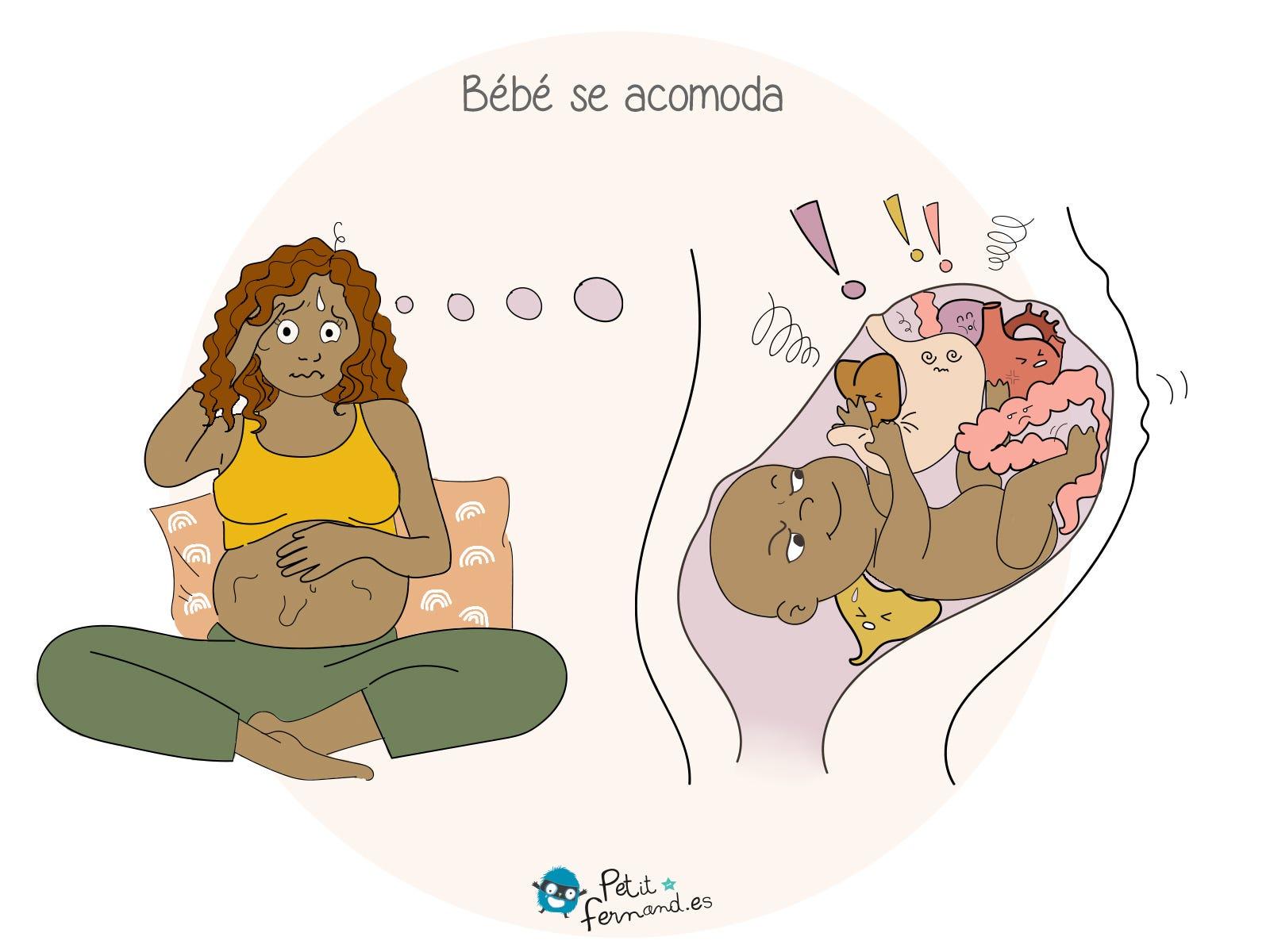 Duante el embarazo, el bébé se acomoda y ¡tu cuerpo se convierte en un campo de juego !