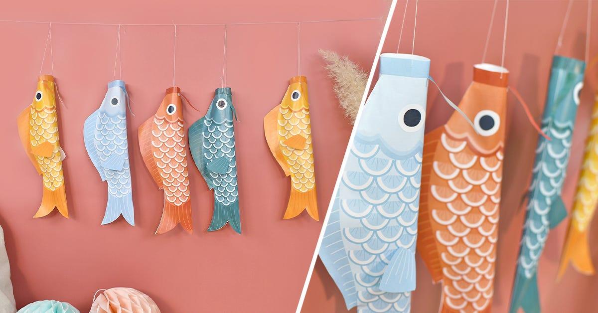 ¡Para una decoración llena de colores, no hay nada como una bandera de peces Koinobori!