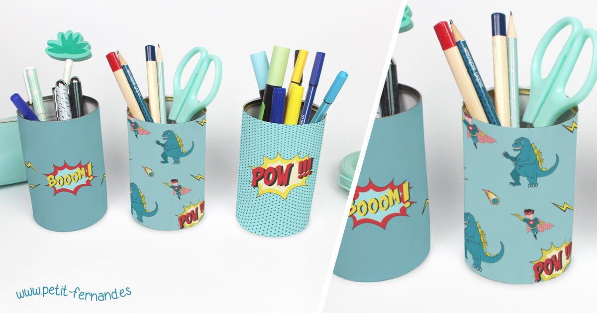 ¡Para mantener un escritorio orgaizado, crea tu propio bote de lápices!